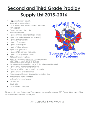 Second and Third Grade Prodigy Supply List 2015-2016 - dragonsk8 dadeschools
