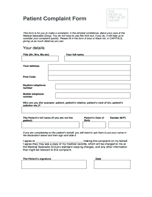 Printable patient complaints examples Samples to Submit
