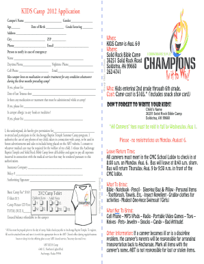 KIDS Camp 2012 Application *All fees must be prepaid prior to the day of camp - ancbt