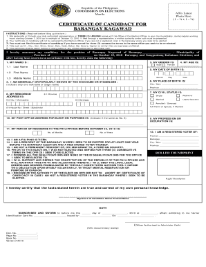 Bcertificateb Of Candidacy For Barangay Kagawad Fill Online