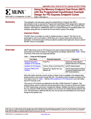 Fillable Online Xilinx XAPP1022 Using the Memory Endpoint