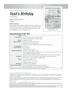 Birthday invitation card matter in english edit fill out print toads birthday lesson 10 teacher s guide toad s birthday by elena rufino fountas pinnell level e fantasy selection summary on her birthdaytoad visits her stopboris Gallery