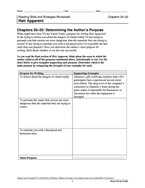 Fillable Online Reading Skills and Strategies Worksheet Fax Email