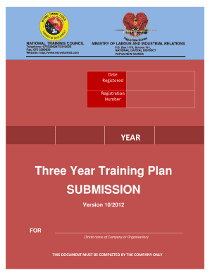Three Year Training Plan SUBMISSION Version 102012 FOR
