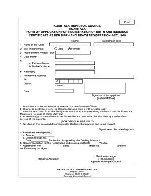 Fillable Online Birth Registration-Tripura pdf Fax Email Print