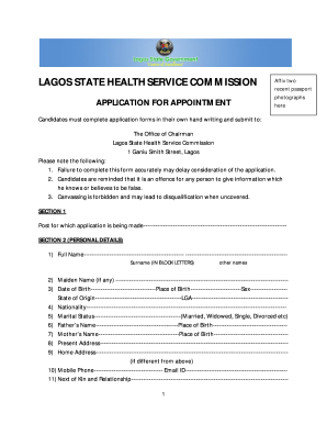 lagos state health service commission form