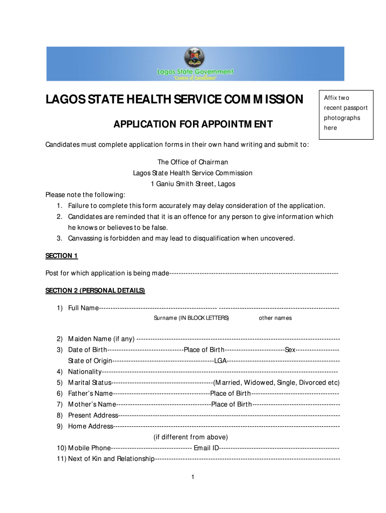 Lagos State Health Service Commission - Fill Online, Printable