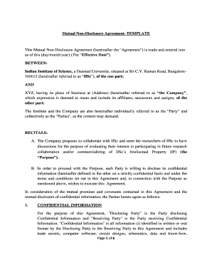 Mutual Non-Disclosure Agreement - Indian Institute of Science
