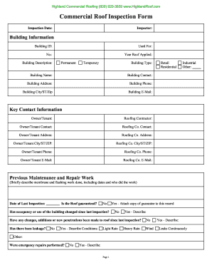roof inspection form Fillable Online Commercial Roof Inspection Form - Highland ...