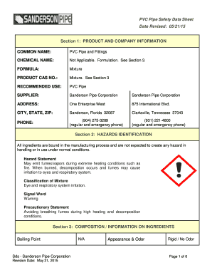 Fillable Online PVC Pipe Safety Data Sheet Date Revised: 05