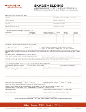 fillable online avbestillingsskjema for tegnet alpinforsikring fax