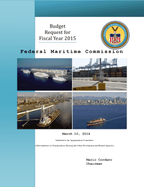 Fiscal Year 2015 Budget Estimates submitted to the Appropriations Subcommittees FY 2015 Budget Request submitted to OMB - fmc