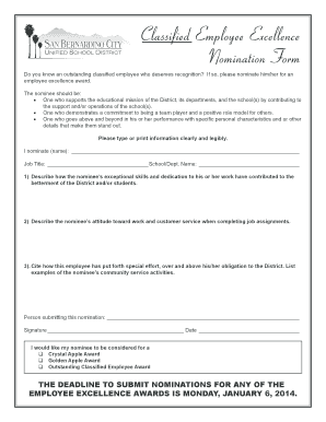 Classified Employee Excellence Nomination Form