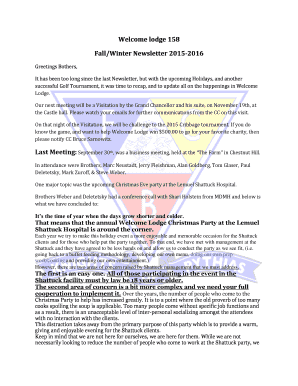 Welcome lodge 158 FallWinter Newsletter 2015-2016 - masskofp