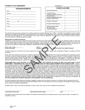 PAYMENT PLAN AGREEMENT Contract No PURCHASER INFORMATON