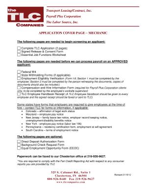 Fillable Online NewEmployeeApplicationPackMechanic1