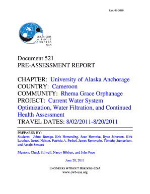 EWB PROJECT: - EWB UAA Student Chapter