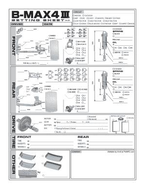 Fillable Online Yokomo B-Max4 III Setup Sheets - PetitRC Fax