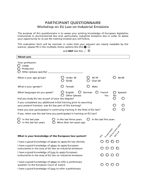 word questionnaire templates