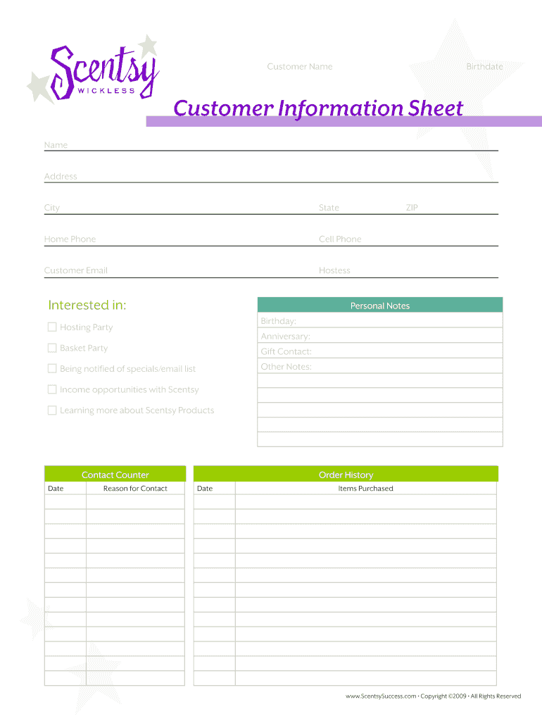 Scentsy Customer Information Sheet Fill Online Printable