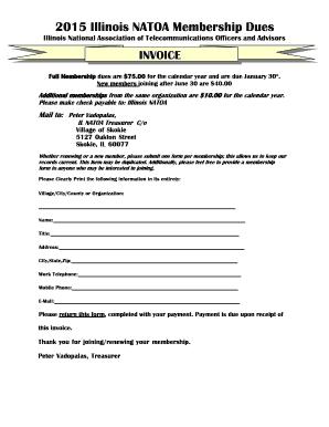 B2015b Membership BFormb   BIllinoisb NATOA39s  Pdf Invoice Creator