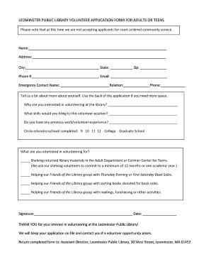 321621610 Volunteer Application Form Public Liry on