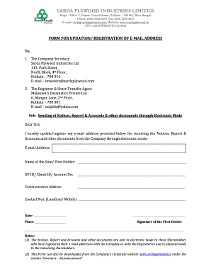 FORM FOR UPDATION REGISTRATION OF E-MAIL ADDRESS - sardaplywood