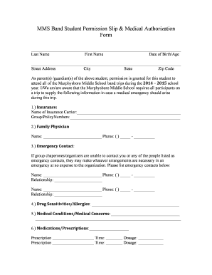 Student Permission Slip Template Forms - Fillable & Printable ...