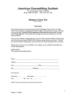 Agi Gunsmith Course Cheat Sheet - Fill Online, Printable