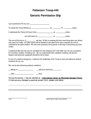 Generic Permission Slip Forms and Templates - Fillable & Printable ...