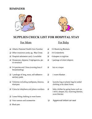 image regarding Hospital Bag Checklist Printable identify Editable clinic bag listing for boy or girl and mother - Fillable