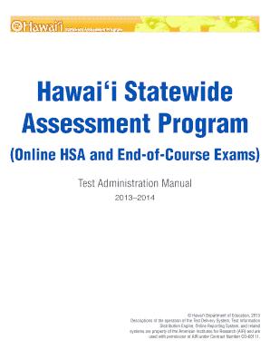 fillable online alohahsap 2013 2014 hsap test administration manual rh pdffiller com