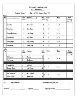 2015 DRAKE VARSITY TENNIS MATCH SCORE SHEET