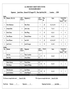 2014 BRANSON VARSITY BOYS TENNIS MATCH SCORE SHEET - MCAL
