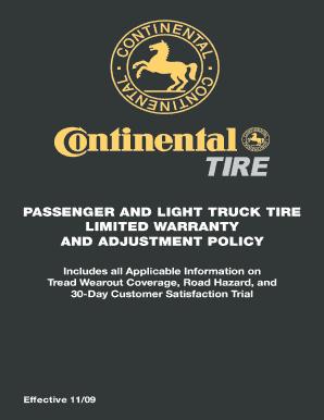 Fillable Online Continental Tire Tire Warranty Pdf Matthews Volvo