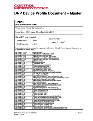 Fillable Online ClearSCADA DNP3 Master Device Profile
