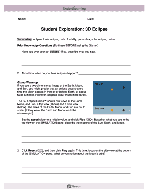 Eclipse Gizmo Answer Key Pdf - Fill Online, Printable ...