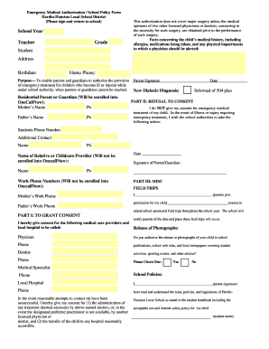 free medical consent form for child while parents are away - Edit ...