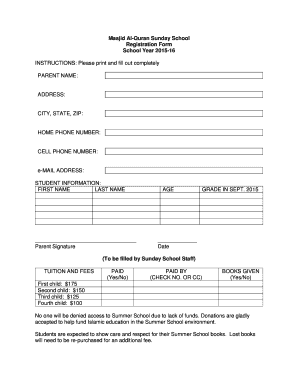 Masjid Al-Quran Sunday School Registration Form - masjidalquran