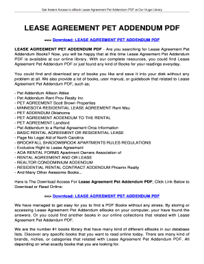 Lease Agreement Pet Addendum Lease Agreement Pet Addendum