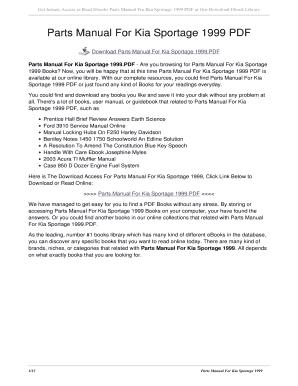 fillable online u sentric parts manual for kia sportage 1999 pdf rh pdffiller com 1999 Kia Sportage Repair Manuals Kia Sportage Problems