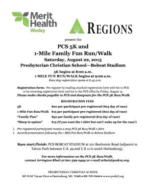 fillable online pcsk12 the pcs 5k fun run walk registration form