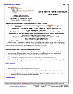 Bill Of Sale Form Colorado Lead Paint Dislcosure Form Templates ...