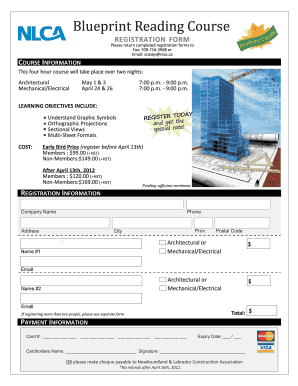 Fillable online nlca blueprint reading course registration form fill online malvernweather Gallery