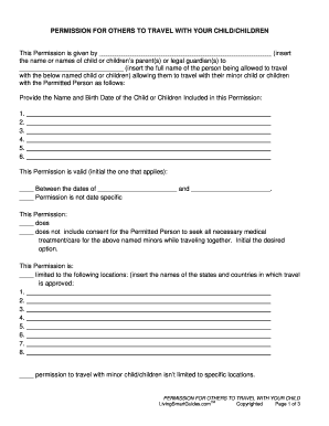 Child Travel Consent Form With One Parent