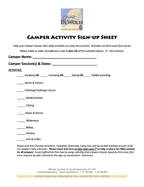 Fillable Online Campdewolfe Camper Activity Sign Up Sheet Camp