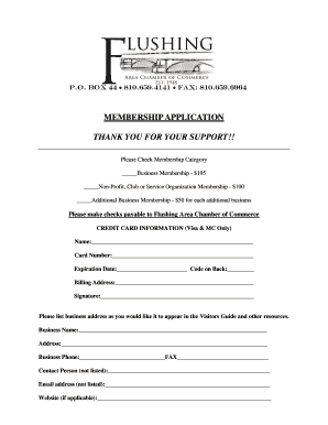 MEMBERSHIP APPLICATION THANK YOU FOR YOUR SUPPORT