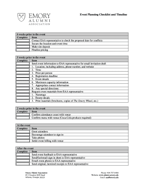 Event Planning Checklist and Timeline - Emory Alumni Association
