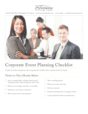 Corporate Event Planning Checklist - The Terraces on Sir Tyler