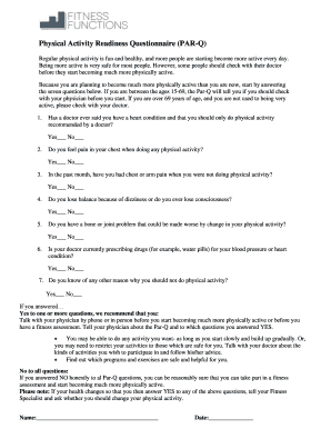 Physical Activity Readiness Questionnaire (PAR-Q) - Fitness Functions